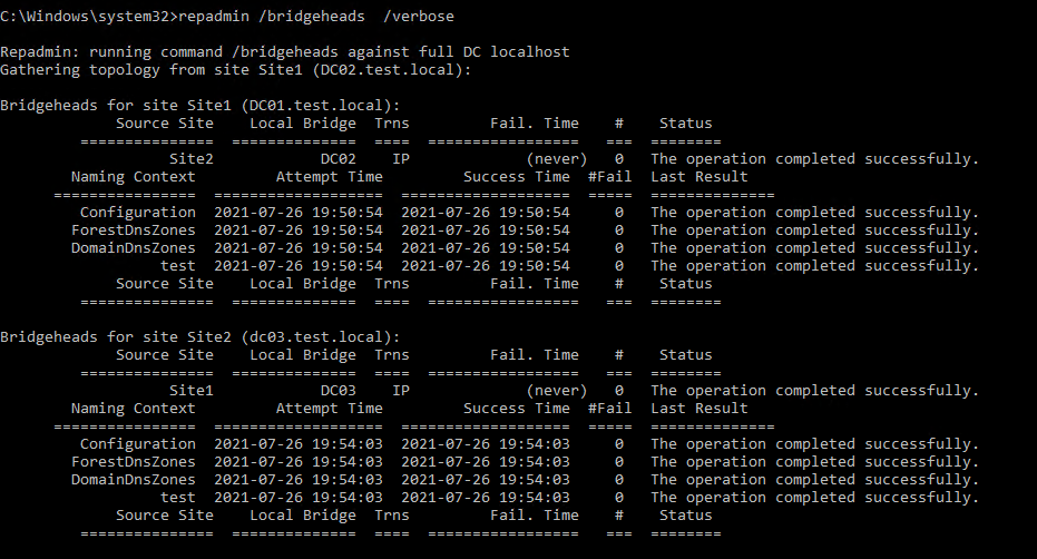 Finding bridgehead servers with repadmin